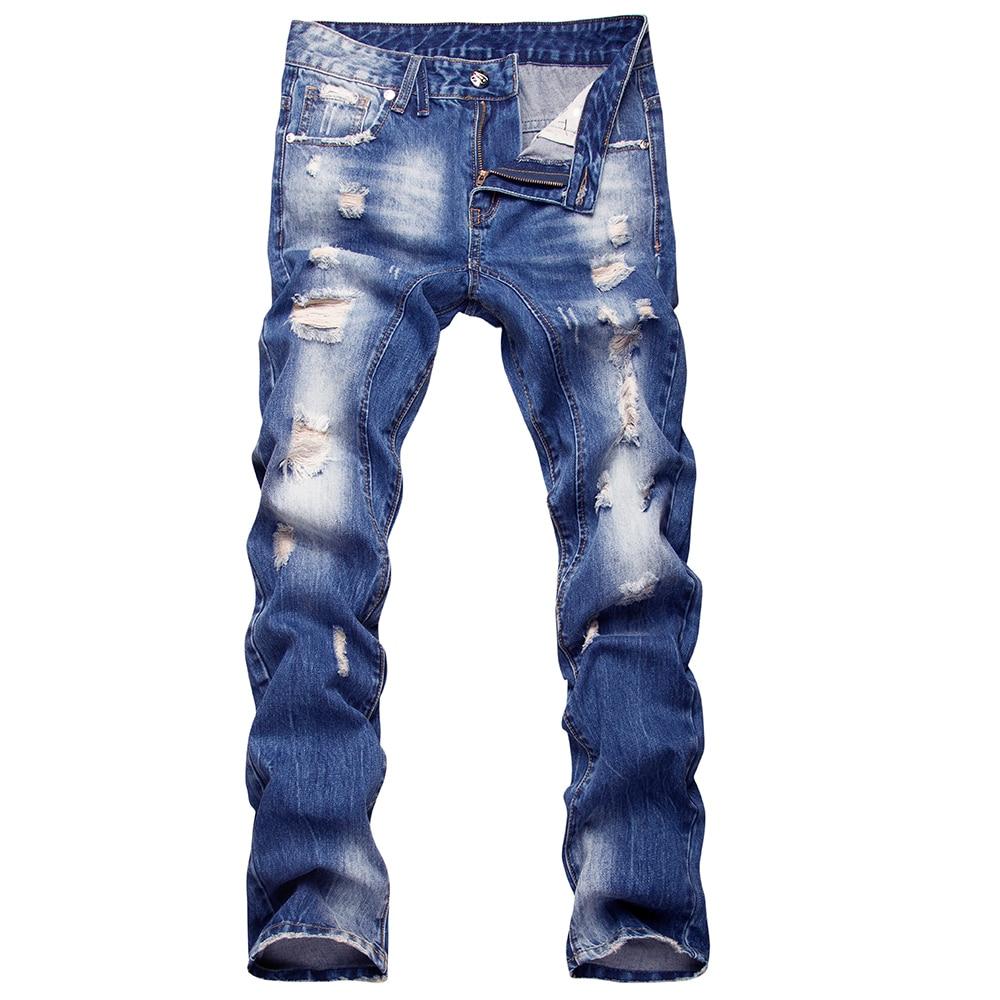 New Men 39 S Fashion Designer Destroyed Ripped Jeans Mens Hip Hop Biker Wash Blue Denim Pants