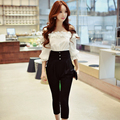 Original 2017 Brand Rompers Spring England Style Plus Size Slim Fashion Casual Applique Off the Shoulder Jumpsuit Women Wholesal