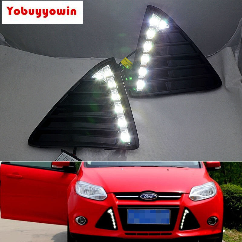 2PCS LED Car Daytime Running Light Fog Lamp DRL For Ford Focus 2011 2012 2013 hireno super bright led daytime running light for ford raptor f150 f 150 2010 2011 2012 2013 2014 car led drl fog lamp 2pcs