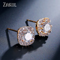ZAKOL Fashion 4 Color Crystal Square Shape Women Exquisite Stud Earrings With Gold Plated For Engagement Aretes FSEP524