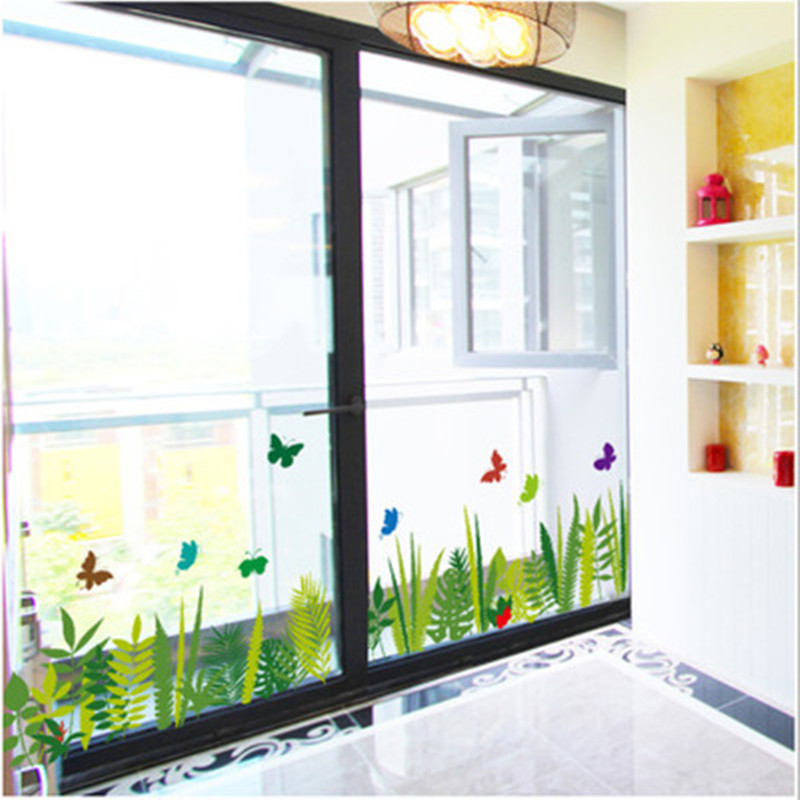 Cartoon Butterfly Plant Waist Wall Stickers Kitchen Decorative Balcony Windows Skirting Wallpaper Home Decor Supplies Decals