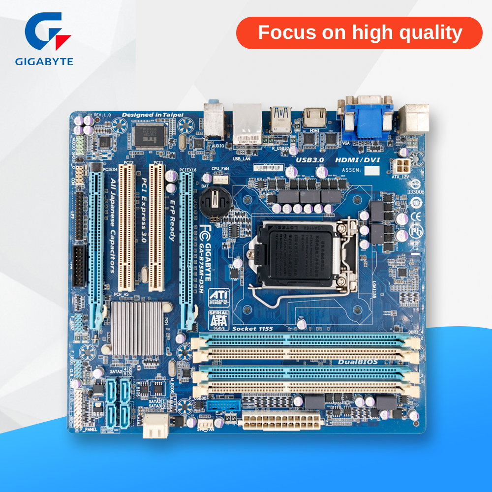 Gigabyte GA-B75M-D3H Original Used Desktop Motherboard B75M-D3H B75 Socket LGA 1155 i3 i5 i7 DDR3 ATX On Sale asus p5ql cm desktop motherboard g43 socket lga 775 q8200 q8300 ddr2 8g u atx uefi bios original used mainboard on sale
