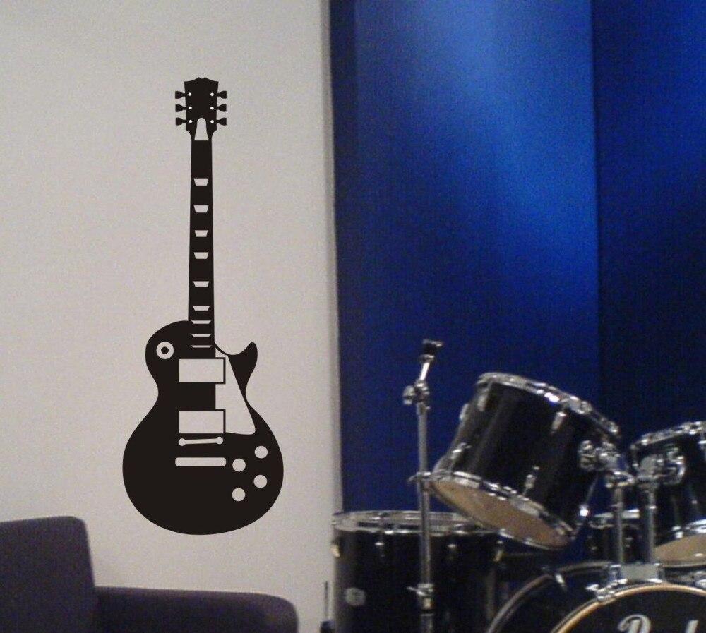 Poomoo tapeten gitarre wandtattoo les paul inspiriert abnehmbare aufkleber musik metal rock decor kunst 40x14 zoll in poomoo tapeten gitarre wandtattoo les