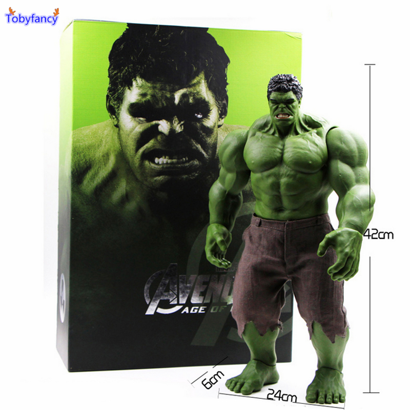 Tobyfancy Avengers Action Figure Incredible Hulk Iron Man Age Of Ultron Hulkbuster 42CM PVC Collectible Model Toy avengers movie hulk pvc action figures collectible toy 1230cm retail box