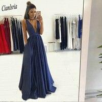 Sexy Deep V Neck Navy Blue Long Evening Dresses 2019 Sleeveless Simple Formal Evening Party Dress
