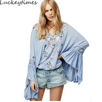 Luckeytimes Siren Song Top Women Blusas Vintage Embroidery Floral Ruffle Cuffs V Neck Plus Size Loose