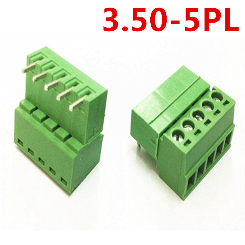 10sets 5Pin Electrical PCB 15EDG-3.5mm Pitch Plug-in pin header and socket Right Angle Bend Screw Green Terminal Block Connector
