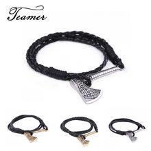 Teamer – pendentif Vintage couleur argent, bibelot, amulette esclave Viking, symbole épée de hache, Bracelet amulette, bouclier, bijoux
