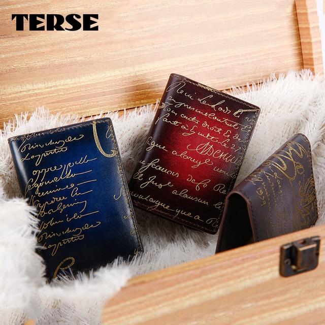 TERSE_Golden engraving card holder handmade genuine leather card wallet in blue/ burgundy/ blue grey custom service