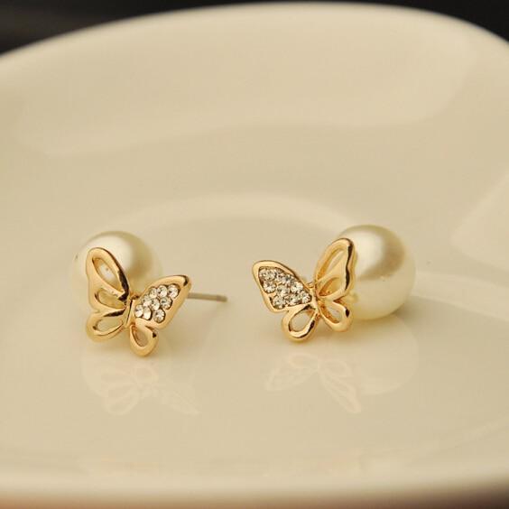 Fashion Trendy Cz Diamond Double Sides Pearl Earring Ball Erfly Gold Stud Earrings For Women S