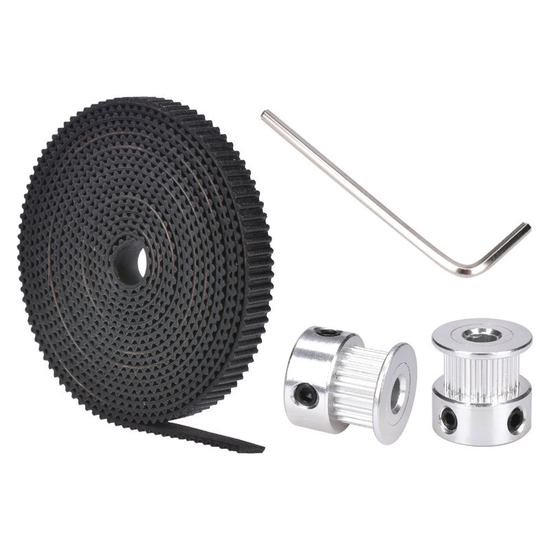 GT2 16 Teeth  Bore 5mm Pulley With 2m GT2-6mm Width Open Timing Belt KIT For 3D Printer(4xM3 Setscrews And 1xAllen Key
