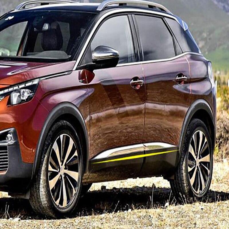 Pour Peugeot 3008/4008 2016 2017 2018 Car styling couverture détecteur Corps Porte Latérale en acier inoxydable garniture bâtons Bandes Moulage 4 pcs