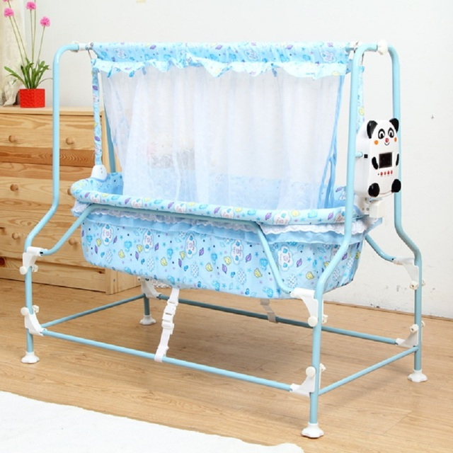 Newborn Baby Sleeping Cradle Electricity Auto Swing Baby Cradle Baby Bed Pink And Blue Color