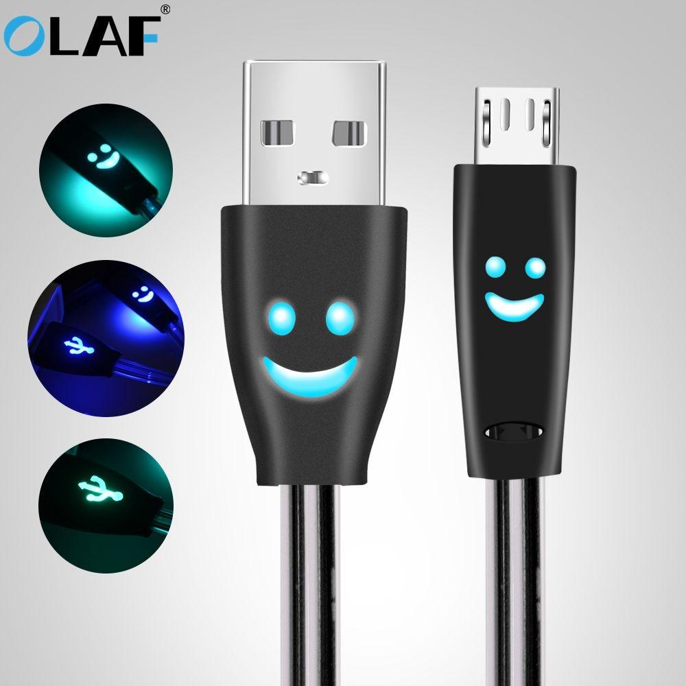 1 Pc Led Licht 8 Pin Micro Usb Daten Sync Ladekabel Ladegerät Kabel Für Samsung Android-handy Tablet Lächeln Gesicht Design Unterhaltungselektronik