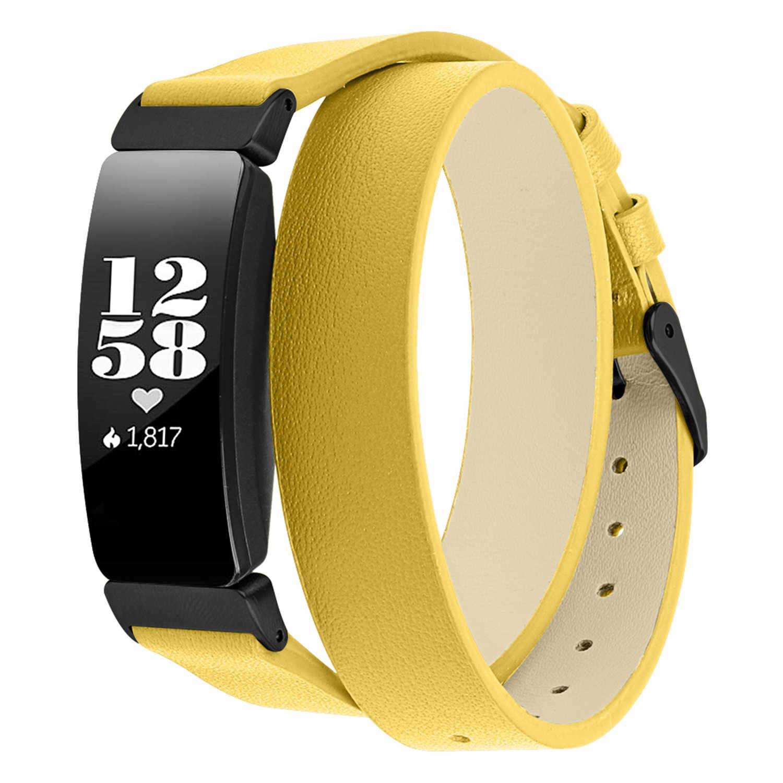 時計バンド fitbit Inspir ブレスレットダブルツアー本物のレザーバンド fitbit 鼓舞時金属バックル腕時計ストラップ