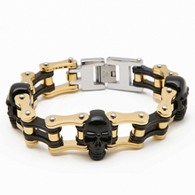 Charm Skull biker  Bracelet men Drop shipping Black Bracelets Steel Men Stainless Motorcycle Jewelry Golden