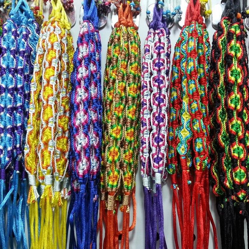Wholesale 120p Colorful Braided Woven Friendship Bracelet Wide Retro Handmade Nepal Geneva Brazilian Multicolor String Cord