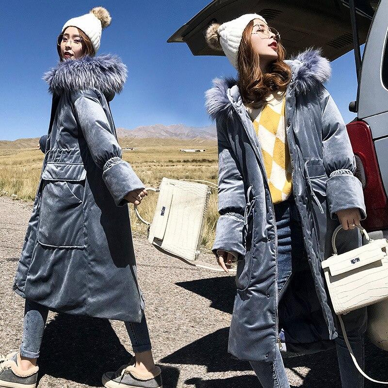Große Haar Kragen Samt Lange Baumwolle Gefütterte Mantel Weibliche 2018 Ukraine Unten Baumwolle Parka Winter Jacke Frauen Brot Kleidung A614