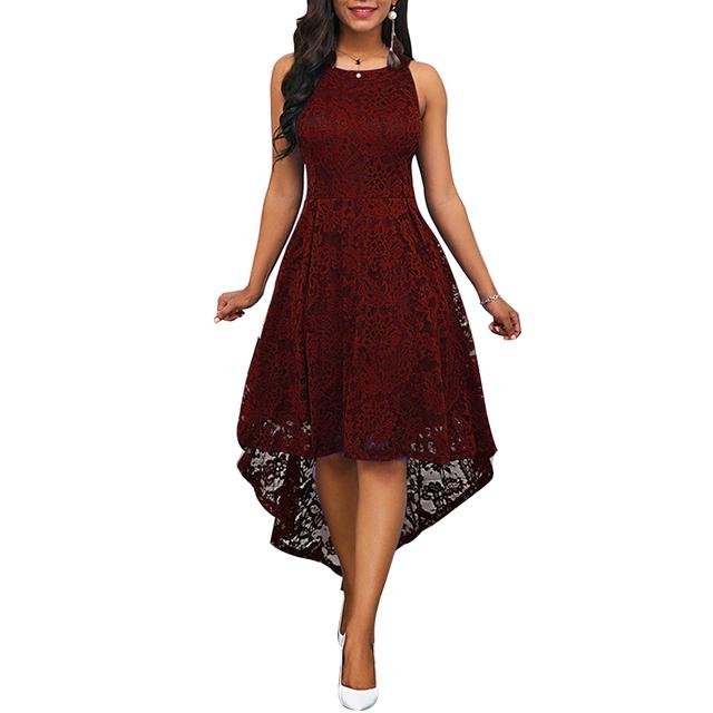 Vestido de fiesta con dobladillo Irregular ,sin mangas, de color sólido y de encaje Floral para mujer