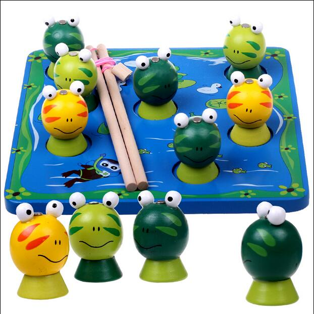 MamimamiHome Baby Wooden Fishing Toys Frog Magnetic Stereoscopic Montessori Early Education Toys Family Games Blocks 50pcs hot sale wooden intelligence stick education wooden toys building blocks montessori mathematical gift baby toys