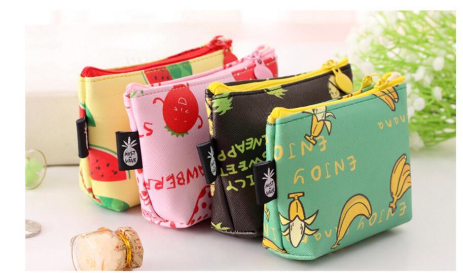 2021 new 100pcs/lot! 2021 Women Lovely Fruit Printing Zipper Short Wallets Fresh Style PU Leather Purse Wholesales