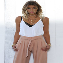New summer Italian wide leg pants fashion high waist pants loose thin solid color casual belt pants large size women's pants 2017 spring new cowboy belt pants loose legs were thin pants wide leg pants