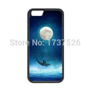 Fantasy Blue Moonlight Balloon Ride a Whale design hard plastic mobile cell phone bags case cover for iphone 4 4s 5 5s 5c 6 plus