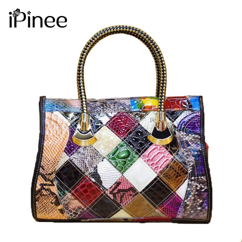 iPinee 여성 쇠가죽 채찍으로 치다 가죽 뱀 패턴 백퍼센트 진짜 가죽 손수 패치 워크 여성 숄더 가방 반짝 이는 색상 차단