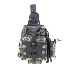 Hetto Fishing Baggage Crossbody Chest Bag with Water Bottle Holder Nylon Waterproof Sling Tactical Baggage Fishing Sort out
