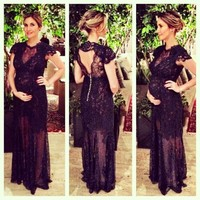 O Neck Applique Black Lace Long Evening Dresses For Pregnant New Design Cheap Maternity Sheath Prom