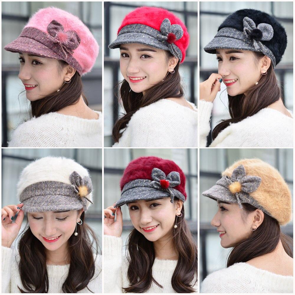 Women Winter Warm Knitted Wool Fur Bow Flower Ski Hat Bucket Gatsby Cap CS164 HATCS0164