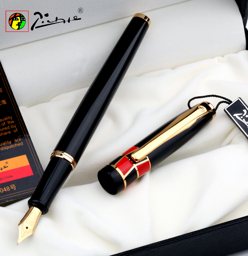 Promotion Picasso Pimio 923 Luxury Pure Black and Gold Clip Fountain Pen with 0.5mm Iridium Nib Metal Ink Pens Free Shipping hero 382 kawaii pink and gold clip 0 5mm iridium nib fountain pen set with a bottle ink metal pens for business christmas gift