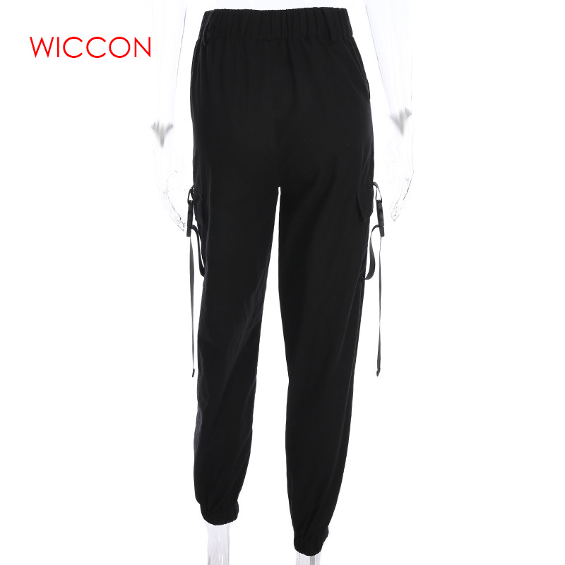 Women Casual Joggers Streetwear Cargo   Pants   Black High Waist Loose Female Trousers Korean Style Ladies   Pants     Capri