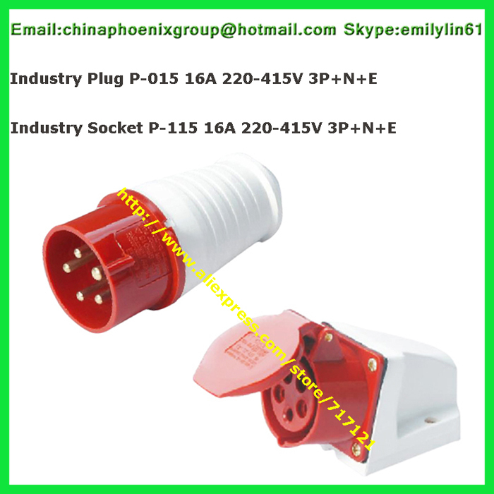 Waterproof Industrial Power Socket P 11516A 400V 3 Phase 5 Wire(3P+N+E) +  Industrial Connector red female plug P 015 total 2pcs|wire wire|wire  5socket waterproof - AliExpressAliExpress