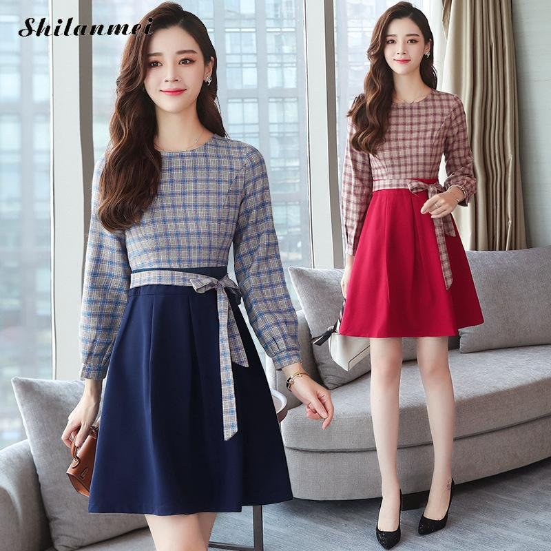 Plaid Slim New 2018 Autumn Long Sleeve Shirt Dress Women Fashion Round Collar Casual Graceful Female A Line Dresses Vestidos 7