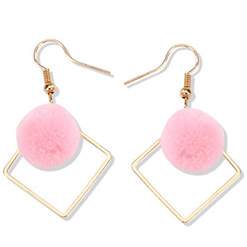 6 Colors Hair Ball Woman Drop Earrings Jewelry Gifts New Square Ball Earrings Personality Wild Simple Earrings