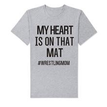 LUSLOS    MY HEART IS ON TAHT MAY#WRESTLINGMOM Letter Print Women's T Shirt Mother Tee Tops Casual Summer Short Sleeve цены онлайн