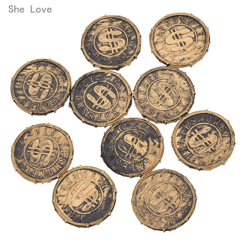 She Love 10pcs Plastic Coins Party Props Christmas Gift Children's Toys Game Currency Halloween Party Supplies