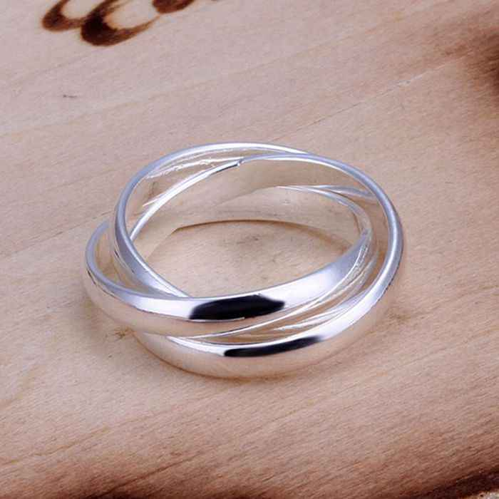 Free Shipping New Beautiful Fashion 925 jewelry silver plated ring Three Circles anel de ouro bijoux SMTR167