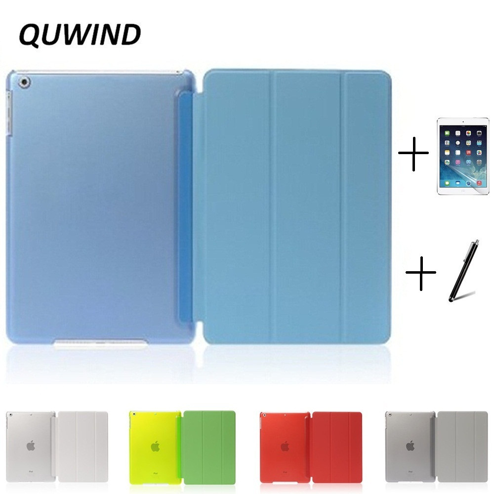 QUWIND Ultra Slim Three Fold PU Leather Hard Back Smart Stand Case Cover for iPad Air 1 2 Pro 9.7 10.5 inch iPad 2017 With Gift new luxury ultra slim silk tpu smart case for ipad pro 9 7 soft silicone case pu leather cover stand for ipad air 3 ipad 7 a71