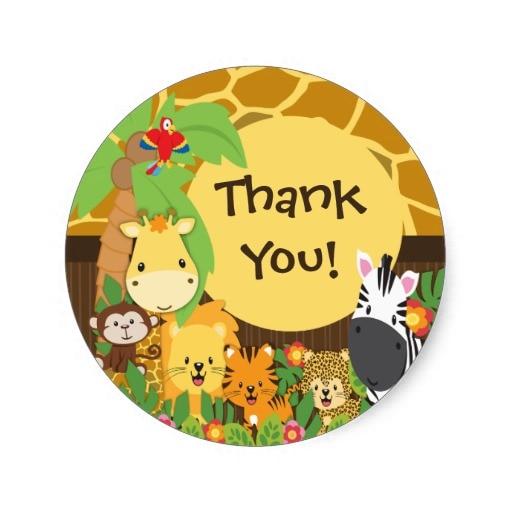 3 8cm Thank You Jungle Safari Baby Animals Sticker In