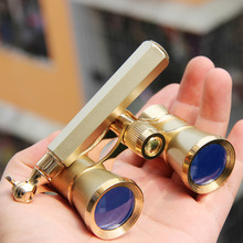 New Exquisite Theater/opera 3×25 Glasses Coated Gold Binocular Telescope With Handle Opera Binoculars Elegant Gift Theater
