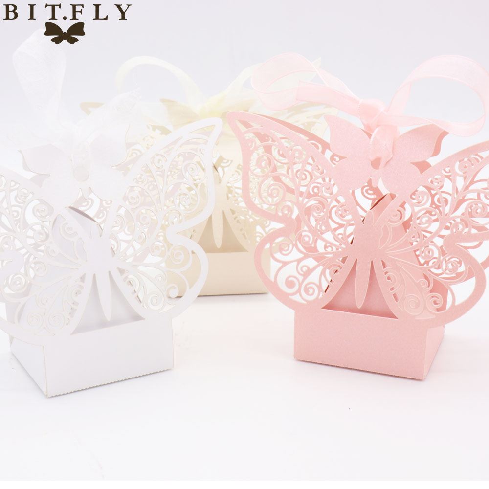 50pcs Candy Box Wedding Gift Bag paper Butterfly Decorations for ...