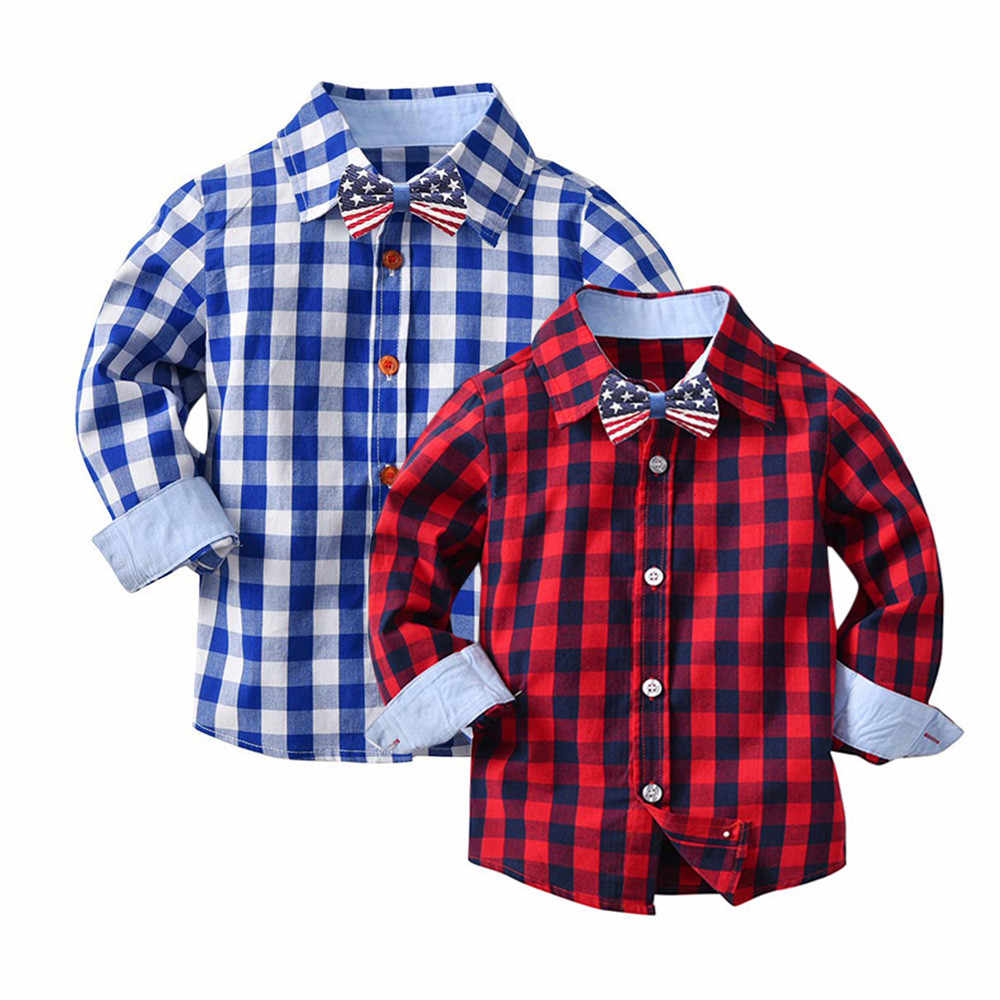 eb96e95f MUQGEW 2018 Hot Sale Toddler Baby Boys Girls Plaid Shirts Long Sleeve  Gentleman Tops Tie Clothes