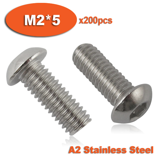 200pcs ISO7380 M2 x 5 A2 Stainless Steel Screw Hexagon Hex Socket Button Head Screws 50pcs lot iso 7380 m3 x 8 titanium button head hex socket screw