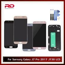 Ayarlanabilir samsung LCD Galaxy J7 Pro 2017 J730 J730F lcd ekran ile dokunmatik ekranlı sayısallaştırıcı grup çerçeve ile çerçeve değiştirme