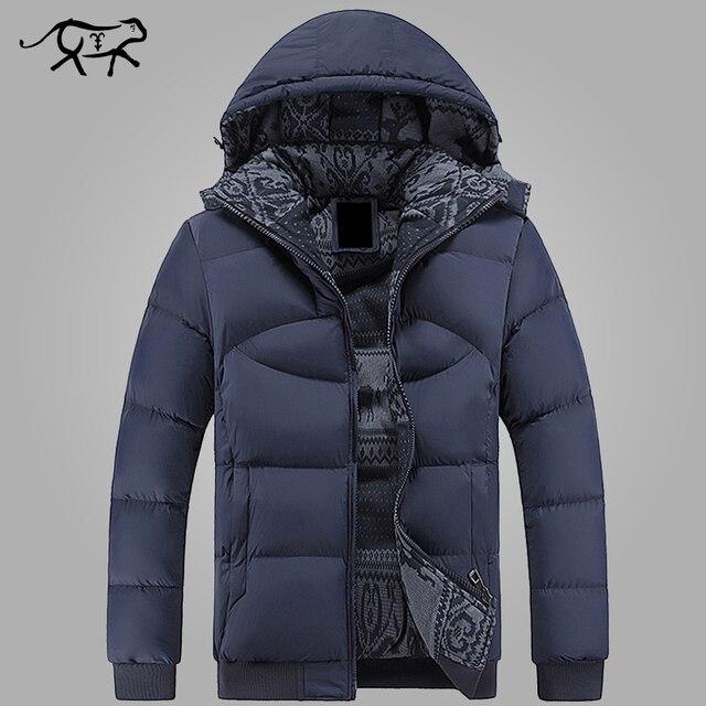 Novos Homens Jaqueta de Inverno Da Marca de Roupas Casuais Homens Encapuzados Jaqueta Parka Grosso Quente dos homens Casacos e Jaquetas Moda casacos Hommer
