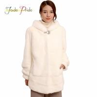 Jade Pride Winter Long Sleeve Diamonds Button Warm Natural Real Mink Fur Coats Hat Women Fashion Genuine Leather Furs Coat Z097