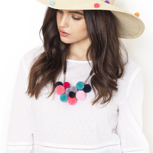 Coco&Willow Colored Pompom Bohemia Collar Charm Necklace, Short vintage statement necklace,maxi necklace for women