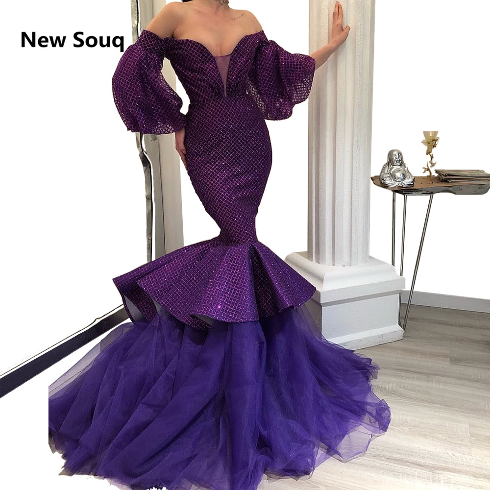 2019 Unique Purple Mermaid Evening Dresses Off The Shoulder Puffy Long Sleeves Illusion V neck Backless Prom Dress